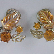 SALE Exquisite Yellow MOLDED GLASS Leaves & Round Cut Amber R.S. Silver Plate Clip Earrings