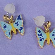 SALE Precious Blue Enamel  over Gold Tone Butterfly Post Earrings