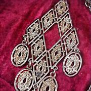 SALE Sautoir 1950's Gold &  Silver Plate Dangle Diamond Shape Pendant & Chain