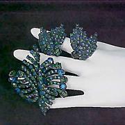 SALE MID CENTURY Blue & Green Japanned  Dimensional Demi Parure - Brooch & Clip Earrings