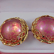 SALE Peach ART  Glass & Gold Fluss Massive Cabochons ~ Gold Plate Clip Earrings