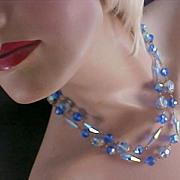 SALE 1940's GENUINE CRYSTAL ~ Blue  CRYSTALS & Aurora Borealis Crystal 2 Strand Necklace