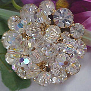 SALE D & E JULIANA !Sparkling Hues~ Dangle Crystals ~ Swarovski Crystal Round Cut Brooch