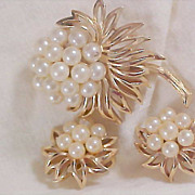 SALE HIGH END Suite by CROWN TRIFARI ~ Simulated Pearls & Gold Plate Brooch & Clip Earrings