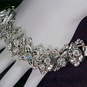 SALE DISCOUNTTED 50% ~ Unsigned CORO Diamante &  Blue Topaz Silver Plate Link Chunky Brace