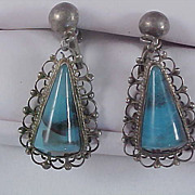 SALE Simulated Turquoise Triangular Glass Stone Silver Plated Screw Back Dangle Earrings
