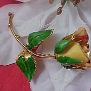 SALE Dramatic Yellow & Green Enamel over Gilt Gold ROSE Brooch