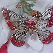 SALE RUBY Red Rhinestone Antiqued silver Plate BUTTERFLY Brooch