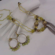 SALE Three Pc. Set - Green Lucite Stones ~ GP Beads ~ Two Necklace ~ Earrings