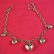 SALE PUFFY HEARTS  Gold Plate Hearts Charm Bracelet