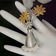 SALE Designer JJ Jonette - Pewter & Gold Plate FLOWER VASE Dimensional Brooch