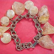 SALE UNIQUE Vintage amber  Celluloid Varied  Stones Shapes Dangle Bracelet