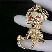 "SALE ""FRIENDLY LION"" ~CARNELIAN Glass Eyes ~ Heavy Textured Gold Plate Dimensional F"