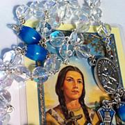 REDUCED Aurora Borealis & Aquamarine-Turquoise Moonstone ITALY ~ Saint Kateri Tekakwitha Rosar