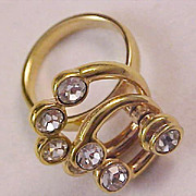 SALE Reduced ~ Three Ring Cubic Zirconia  Swivel Gold Plate Rings ~   Fashion Ring~ Size 5