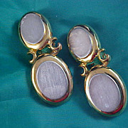 SALE ARTICULATED  Silver & Gold Plate Dangle Moveable Clip Earrings