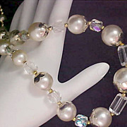 SALE Simulated Pearls  & Clear Lucite Crystals Gold Plated Necklace