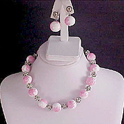 SALE Showstopper vy Designer  VOGUE ~ Pink & White Art Glass marbled Beads ~Pave Diamante