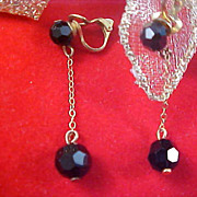 SALE Genuine Black Crystal Dangle Gold Plate Clip Earrings