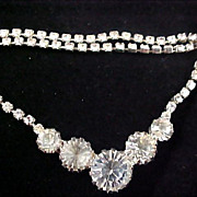 SALE Reduced~ART DECO Headlights & Chatons Diamante & Silver Plate Necklace
