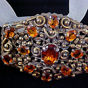 REDUCED Victorian Style Topaz CZECH GLASS   Open Design Antiqued Gold Plate Brooch