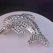 SALE Faux Marcasite DOLPHIN~ Silver  Plate Brooch/Pin