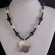 SALE Genuine Black Crystals ~Sim Glass Pearls & Abalone Necklace