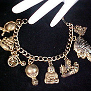 SALE REDUCED~ QUEENS Special Multiple Gold Plate CHARMS ~ Gold Plate Charm Bracelet