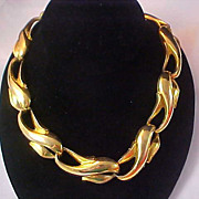 SALE Heavy Gold Plate Link Necklace/Choker~ 104.8 grams