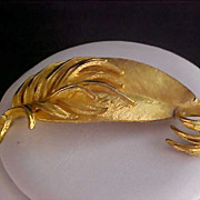 "SALE ""GOLDEN PLUME"" by BSK ~ Fabulous Intricate Plume ~ Textured Brooch"