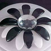 SALE Stunning Rhinestone ~ Black & White CELLULOID  Beveled Brooch