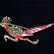 SALE Fabulous  RED Enamel & GOLD Plate  ROADRUNNER Brooch