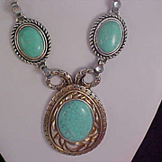 SALE Turquoise Glass Cabochons NATIVE AMERICAN Style Triple Chain Necklace
