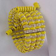 SALE Yellow Glass Beads & Crystal Beads 4 Row WRAP Bracelet