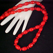SALE Elegant CARVED Holly Berry  Red Lucite  Oval Beads &  Rondelle  Spacers Sautoir Necklace