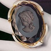 SALE Black Art  Glass Intaglio Gold Plate Pendant