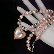 SALE Lavish Ice Pink  Simulated Pearl PUFFY HEART~Pearls~Silver Plate Beads Necklace