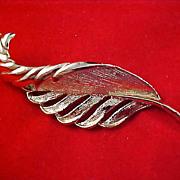 SALE Designer GERRYS Gold Plate PLUME Textured & Polished Brooch/Pin