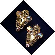 SALE Designer WEISS Amber Rhinestone Silver Plate Clip Earrings