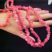 SALE REDUCED~Glass  Red Coral Nuggets Long 38 Inch Necklace & Expandable Matching Bracelet