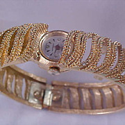 SALE SHEFFIELD ~ Swiss Made Gold Plate Intricate  BRACELET Watch ~ Shock Resistant