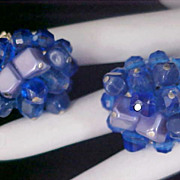 SALE W. GERMANY~Blue Lucite  Clip Earrings