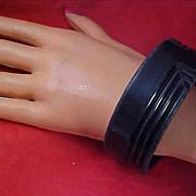 REDUCED Old 1950's  Jet Black Plastic Bangle Bracelet
