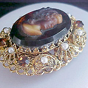 REDUCED ~Uncommon TOPAZ  CAMEO ~Simulated Pearls~Topaz Rhinestone Made in W Germany Brooch