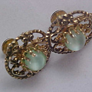 SALE Ocean Blue/Green Moonstone CORO 1930  Screw Back Earrings