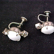 SALE Milk White Glass Exquisite Smoky  Diamante Screw Back Earrings