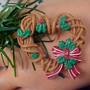 SALE REDUCED~Christmas HEART WREATH Celluloid ~ Holly & Ribbons Brooch
