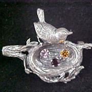 SALE BIRD In Rhinestone Nest STERLING  Silver Brooch by Anson