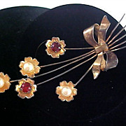 SALE ASK for 50% Off~1940's VERMEIL Gold over Sterling Red Rhinestone Paste & Simulated Pearls