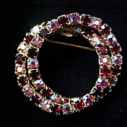 SALE BLING~Sparkling  Aurora Borealis & Ruby Red Rhinestone DOUBLE Circles Gold Plate Brooch